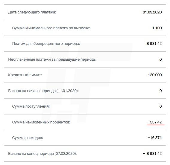 Выписка по кредитной карте банка Тинькофф